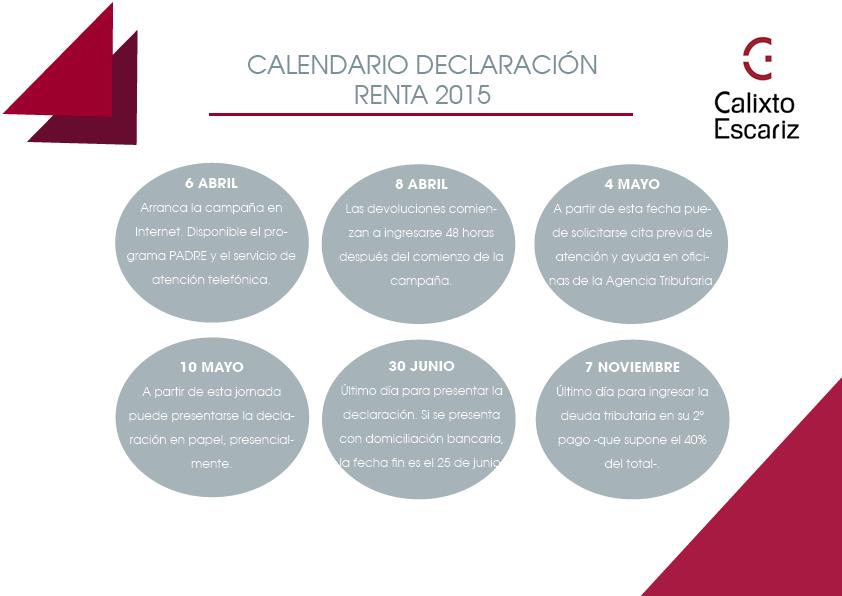 calendario renta 2015